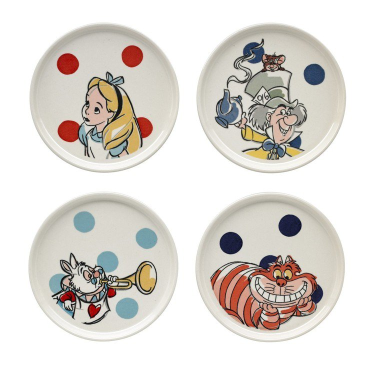 「愛麗絲夢遊仙境」系列愛麗絲圓點盤子組,1,480元。圖/Cath Kidsto...