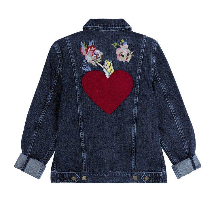 「愛麗絲夢遊仙境」系列愛麗絲手繪玫瑰牛仔夾克,5,280元。圖/Cath Kid...