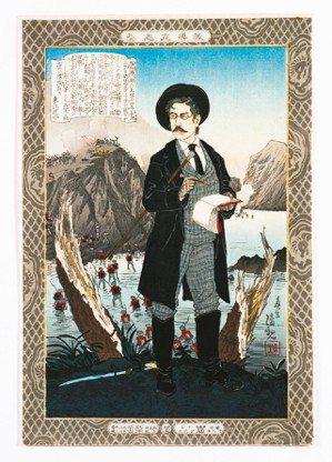 圖1:東京《日日新聞》的主筆和社長〈福地源一郎〉,小林清親畫,1885年。