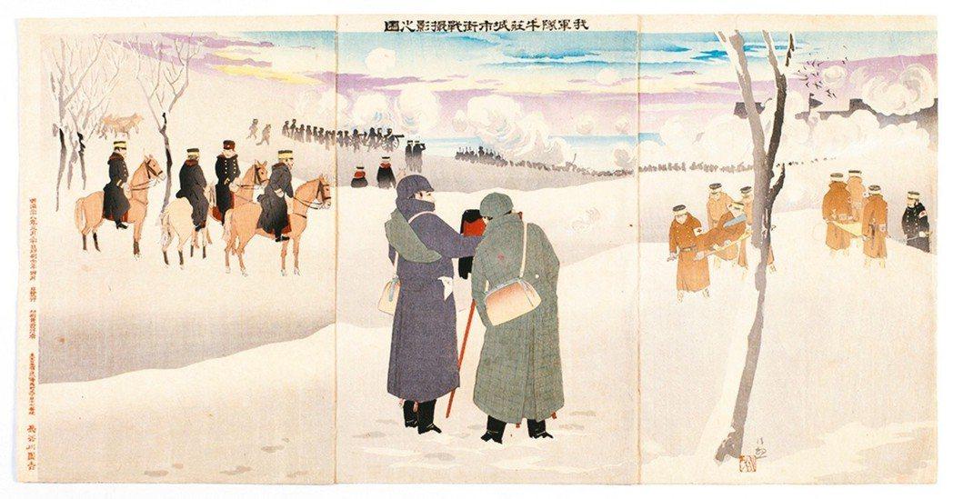 圖3:〈我軍隊牛莊城市街戰攝影之圖〉,小林清親畫,1895年。