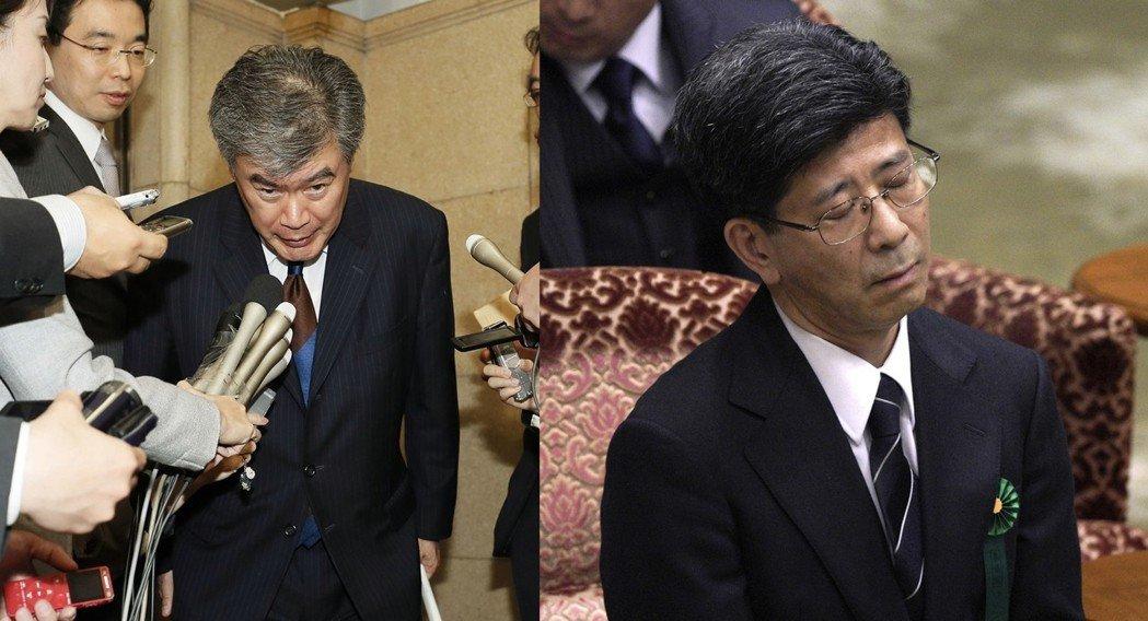 左為因性騷擾而下台的福田淳一,右為身陷森友學園弊案的佐川宣壽,兩人都是1982年...