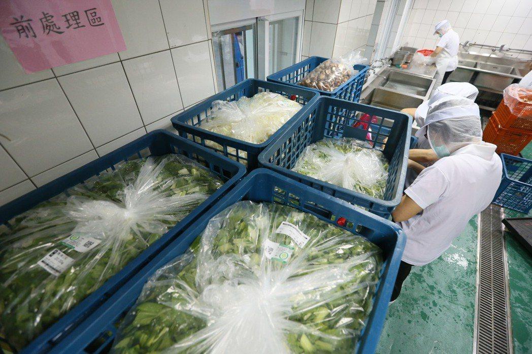 運送到學校的食材都已經過截切、清洗、分裝等前處理。記者林伯東/攝影