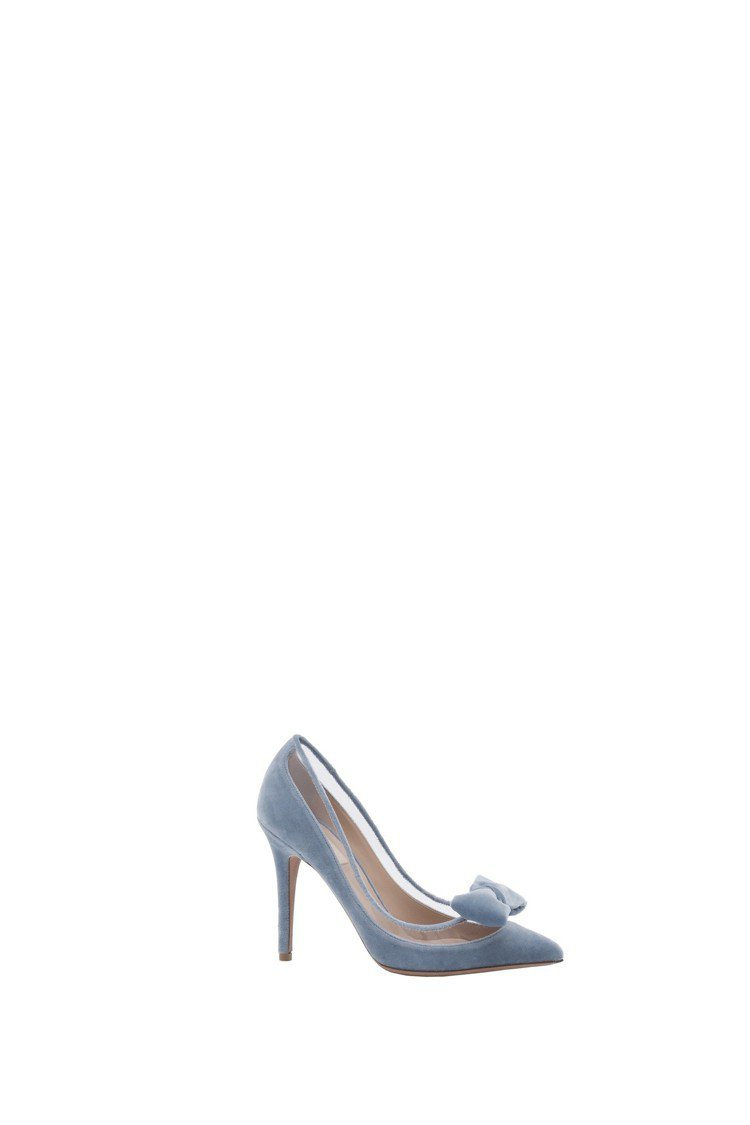 PVC拼接天鵝絨蝴蝶結裝飾高跟鞋,29,800元。圖/Valentino提供