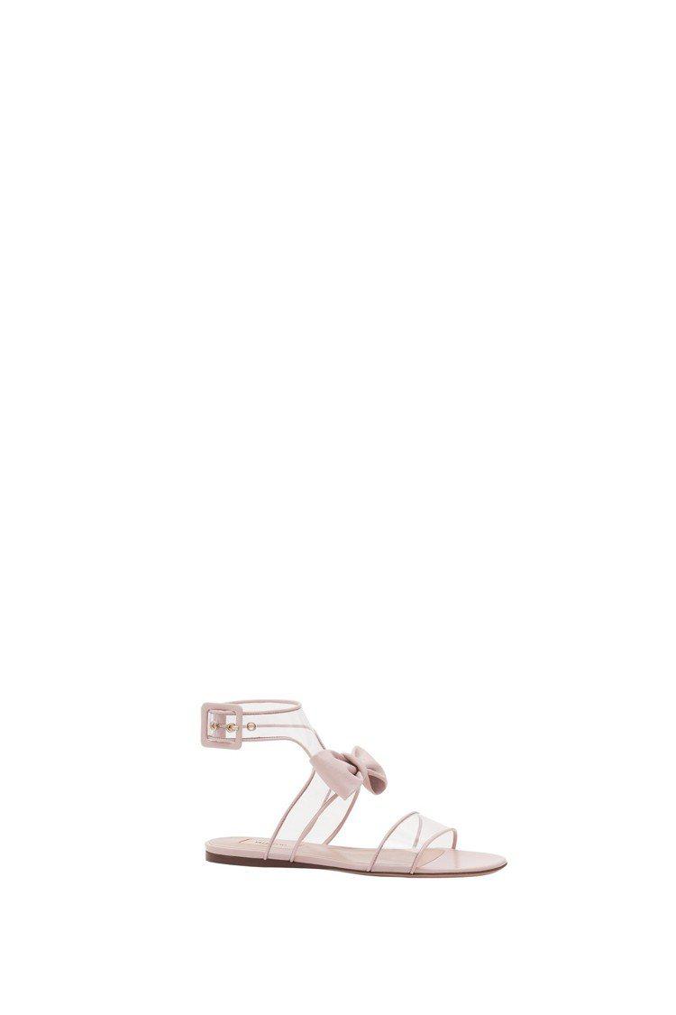 PVC拼接天鵝絨蝴蝶結裝飾涼鞋,29,000元。圖/Valentino提供