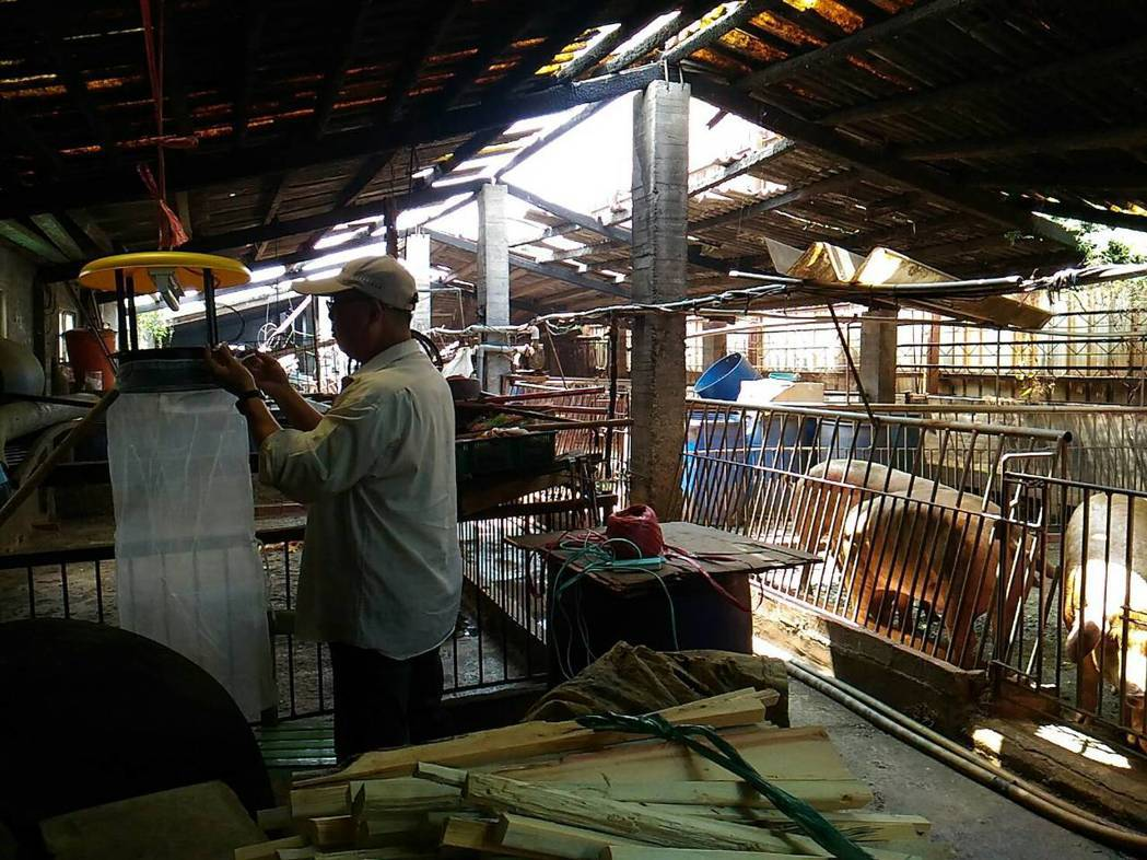 高雄市衛生局人員在個案住家附近的豬舍懸掛捕蚊燈。圖/高雄市衛生局提供
