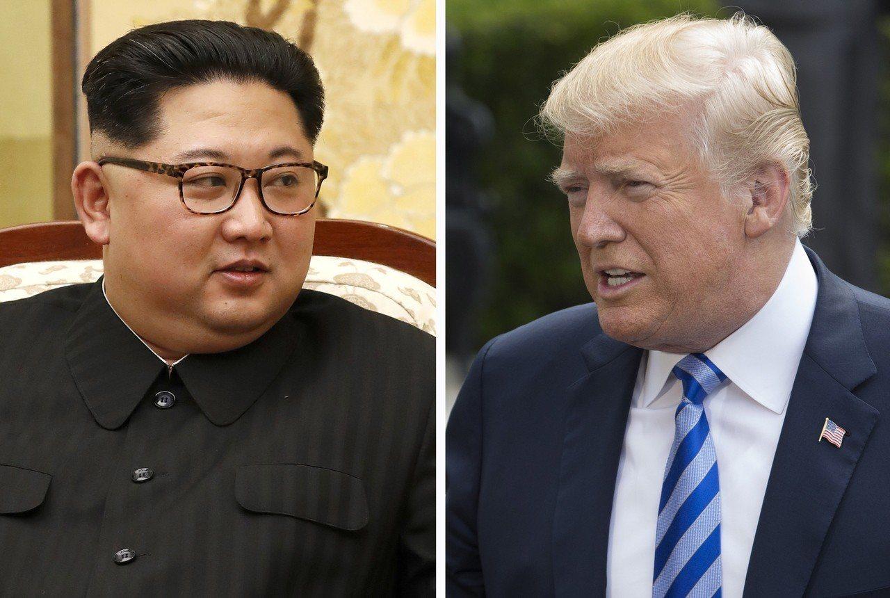 美國總統川普(右)24日宣布與與北韓領導人金正恩(左)的峰會不辦了。歐新社