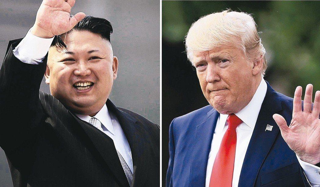 美國總統川普(右)宣布取消與北韓領導人金正恩(左)的川金會。 美聯社