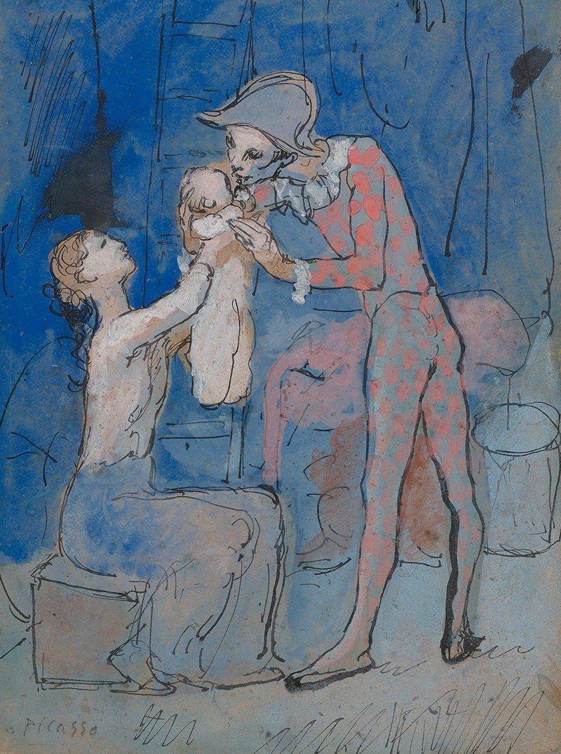 畢卡索《丑角之家》,繪製於1905年。圖/蘇富比提供。