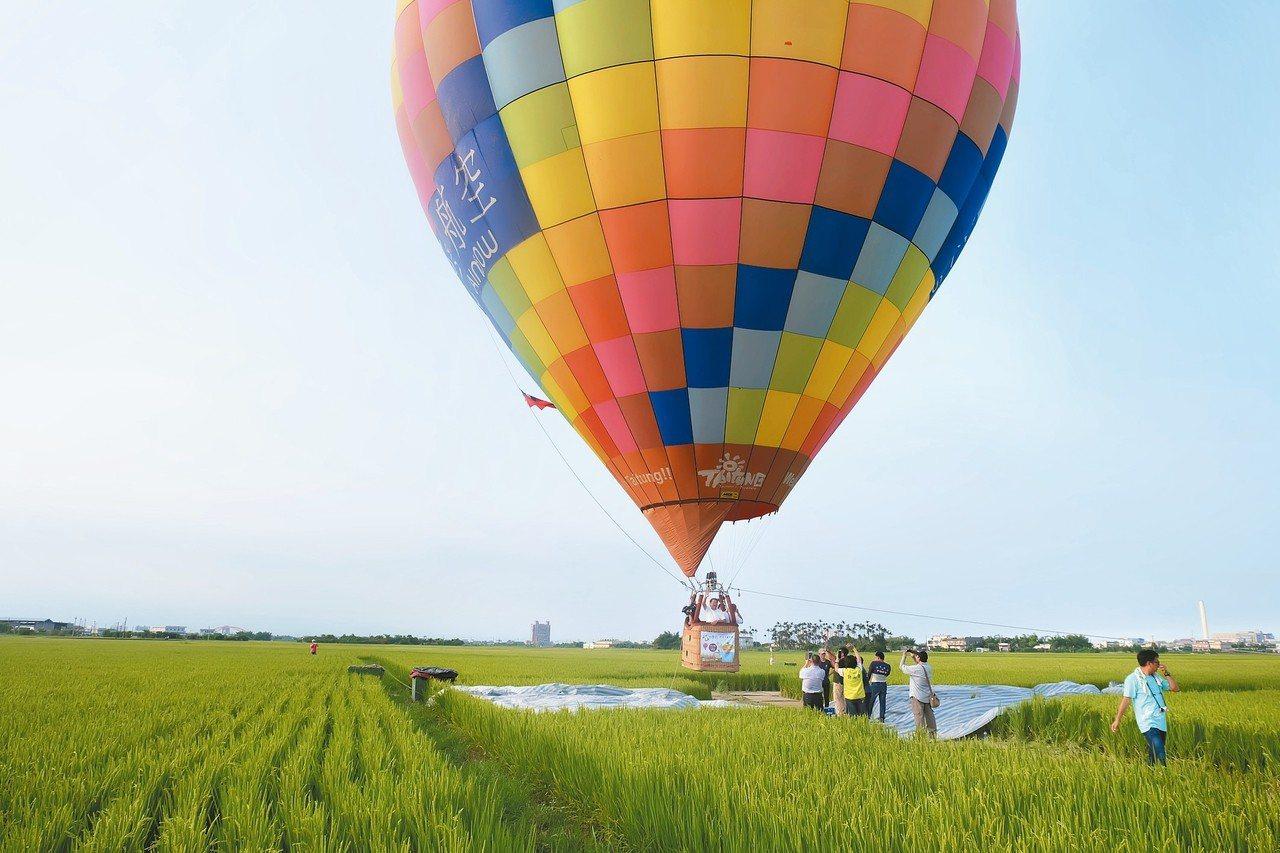 宜蘭首度有彩色熱氣球在稻田間冉冉升空,乘客飽覽田間小徑風光佳。 記者張芮瑜/攝影