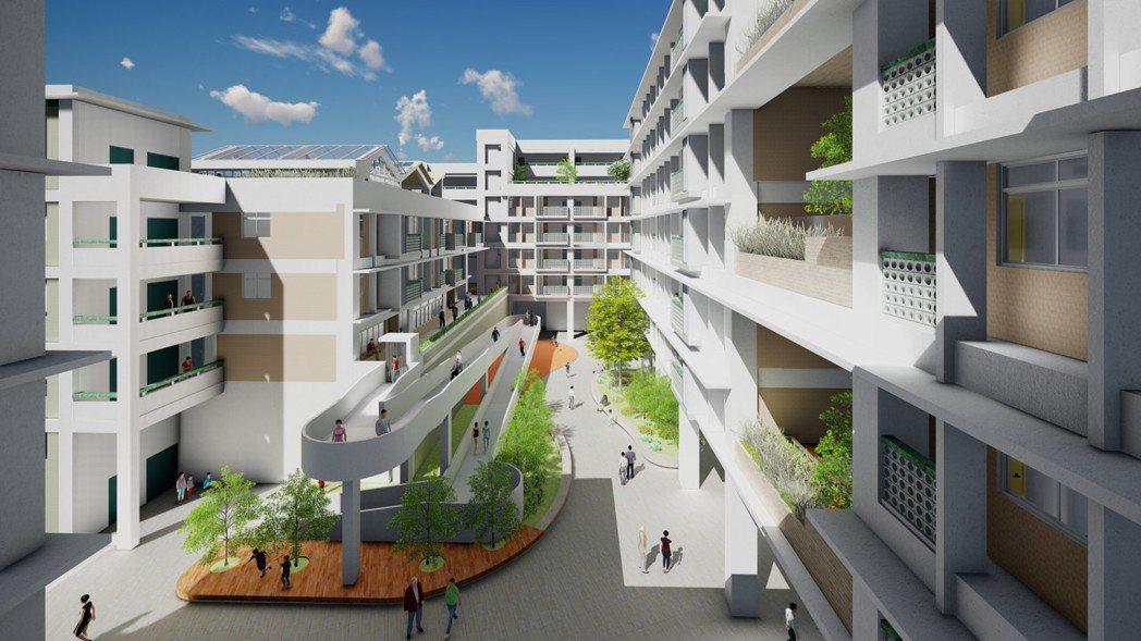台中市規劃梧棲社宅,配合周邊銀髮族群,在一樓設置照護咖啡廳與共餐食堂,中庭有無障...