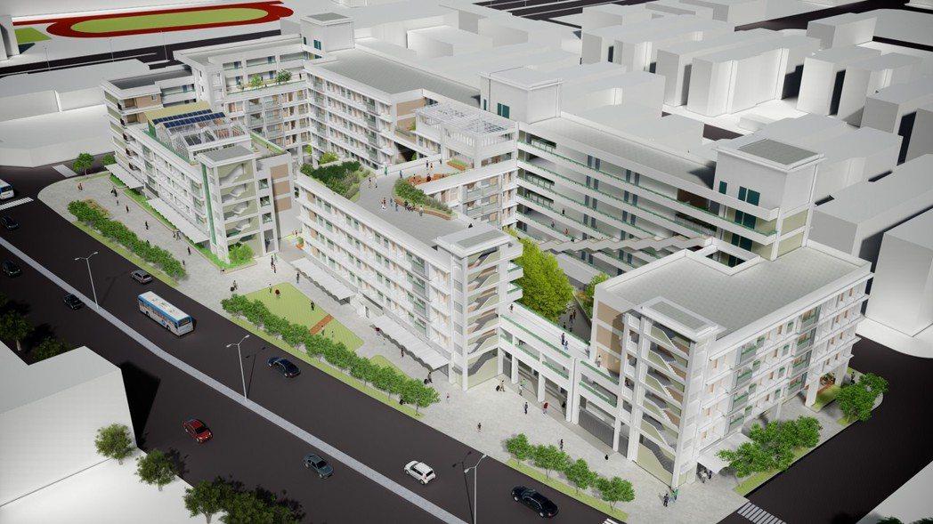 台中市規劃梧棲社宅,配合周邊銀髮族群,在一樓設置照護咖啡廳與共餐食堂,頂樓有溫室...