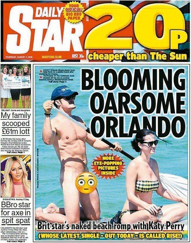 奧蘭多布魯曾被拍到全裸與凱蒂佩芮度假,登上報刊封面,引起軒然大波。摘自Daily