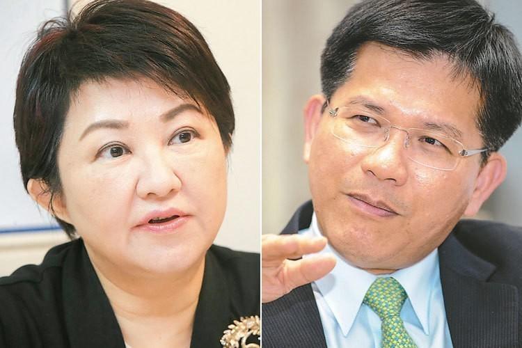 藍綠決戰中台灣,國民黨提名的盧秀燕(左圖)以三成九的支持度領先。林佳龍(右圖)連...