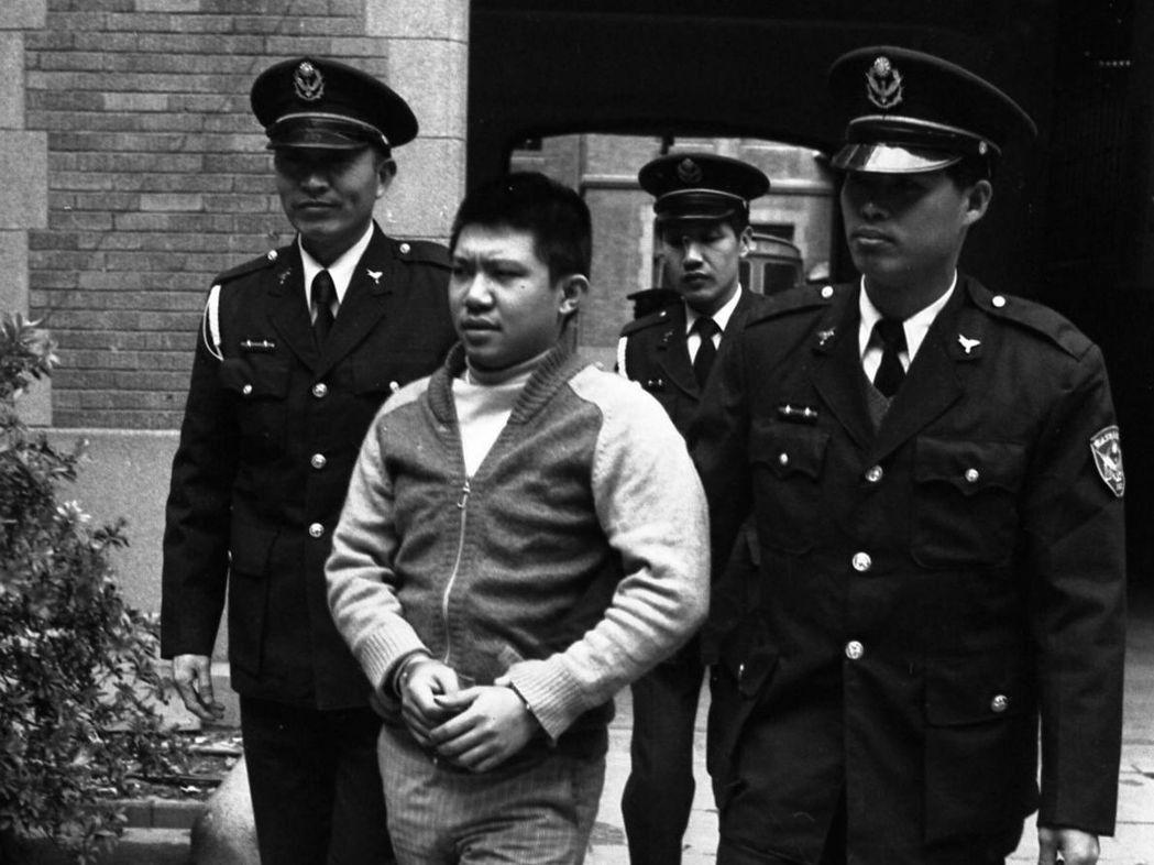 1978年江子翠分屍案,圖為兇嫌林憲坤於台北地方法院第一法庭開庭審理。 圖/聯合...