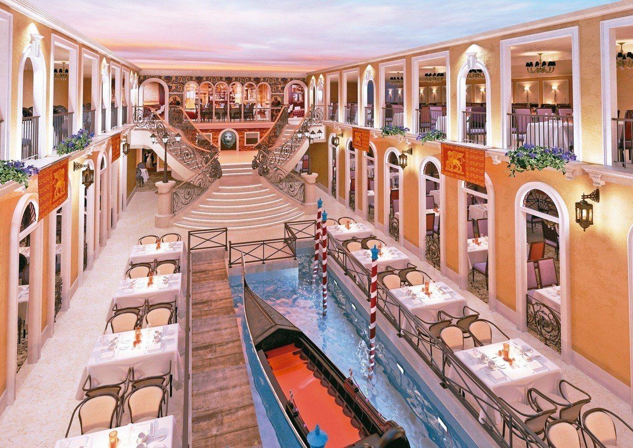 威尼斯號重金自威尼斯建造的貢多拉大運河餐廳,重現經典。 圖/雄獅旅遊提供