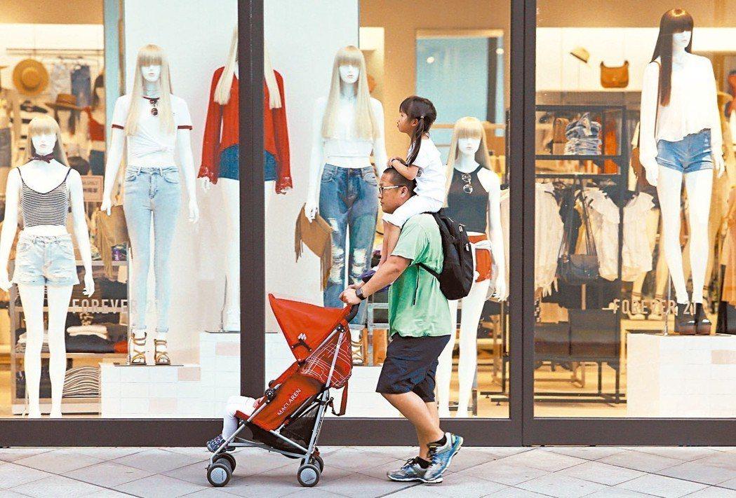 最新調查顯示,民眾對「未來半年國內物價水準」感到嚴重悲觀,圖為一對父女逛街路過百...