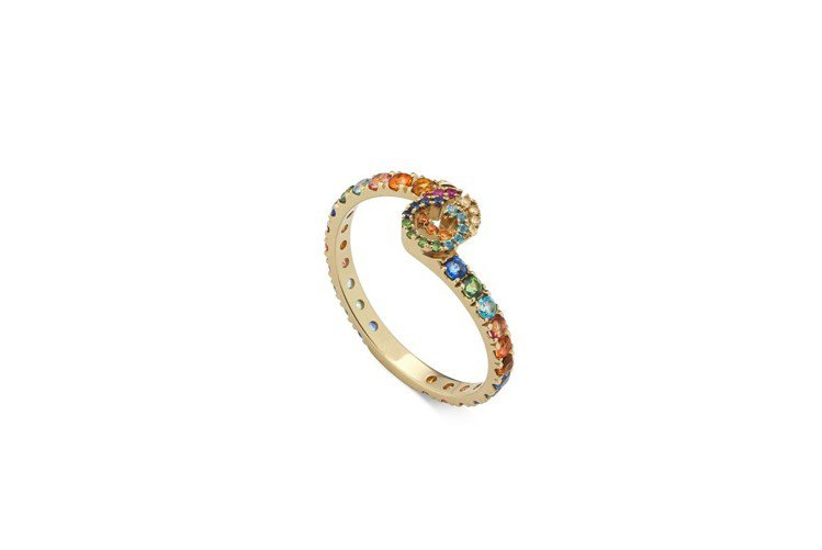 Gucci GG Running系列戒指,18K黃金鑲彩色寶石,約61,100元...