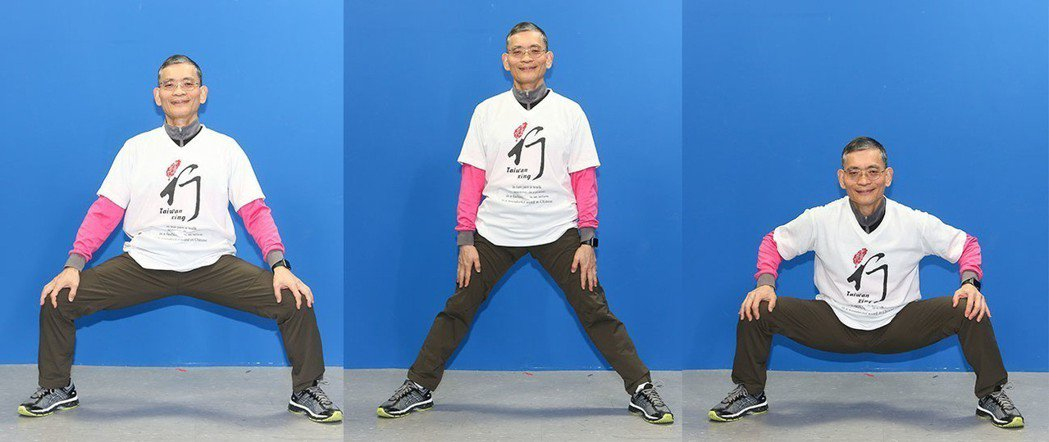 簡文仁示範跨腿扶膝:上下起伏、左右拉筋、前後挺腰。攝影/陳立凱