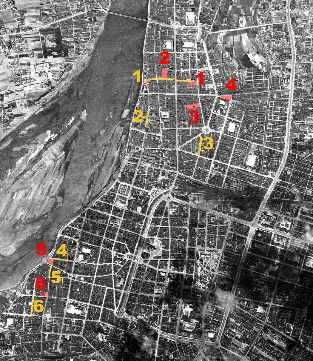 以1945年4月1日美軍所拍攝的台北航照為底,紅色標示的是第一次指定的第一防空空...