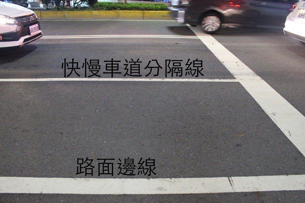 路面邊線與快慢車道分隔線不能停車,但路邊線以外可以停車。 記者張雅婷/攝影