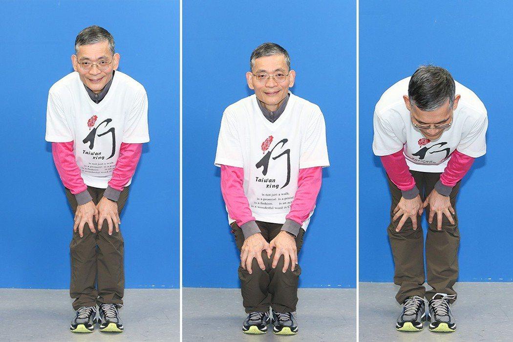 簡文仁示範雙掌護膝:左右開合、前彎後頂、旋轉畫圓。 攝影/陳立凱