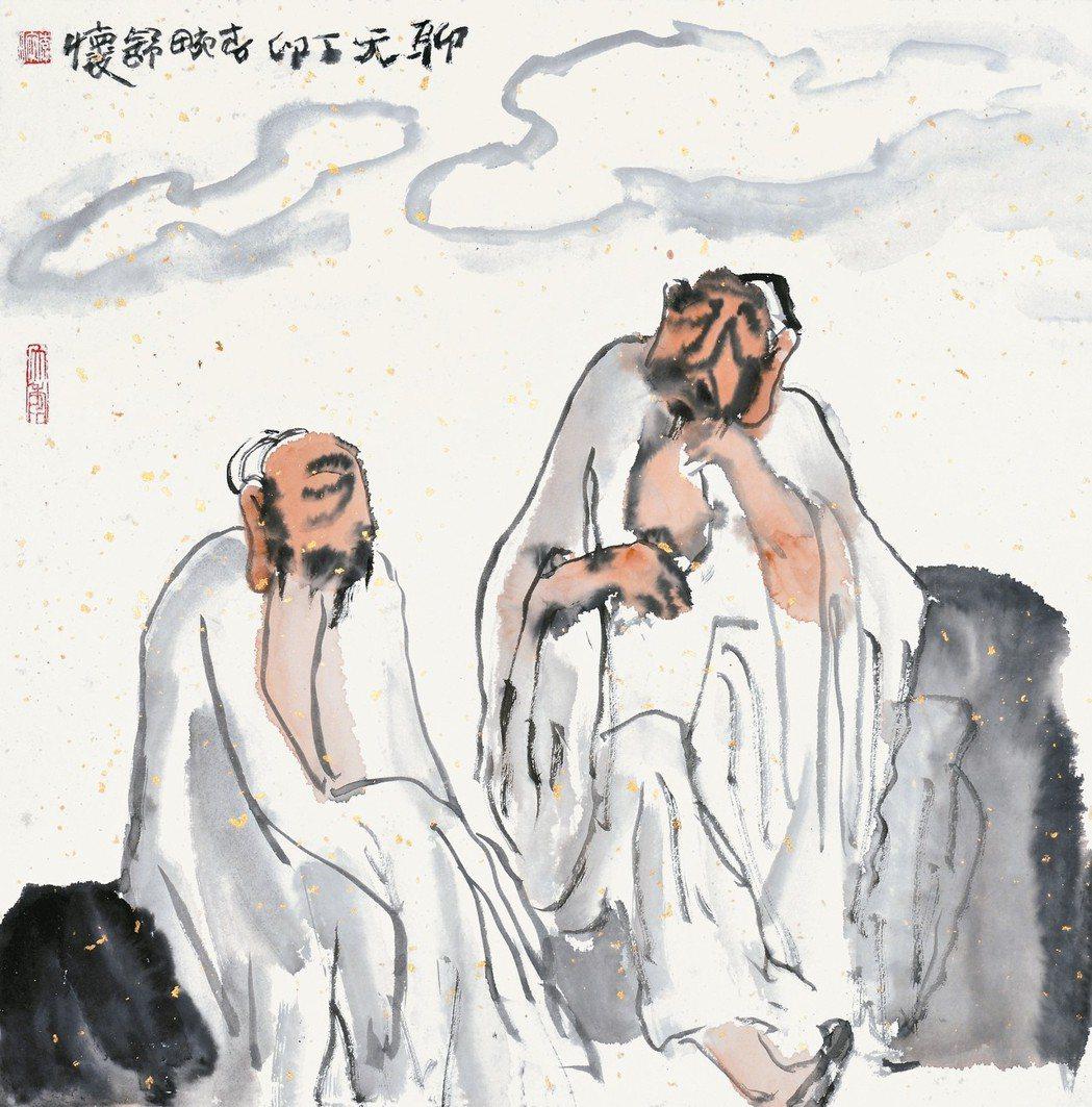 著名畫家李可染之妹李畹作品「聊天」,將來台展出。 本報徐州傳真