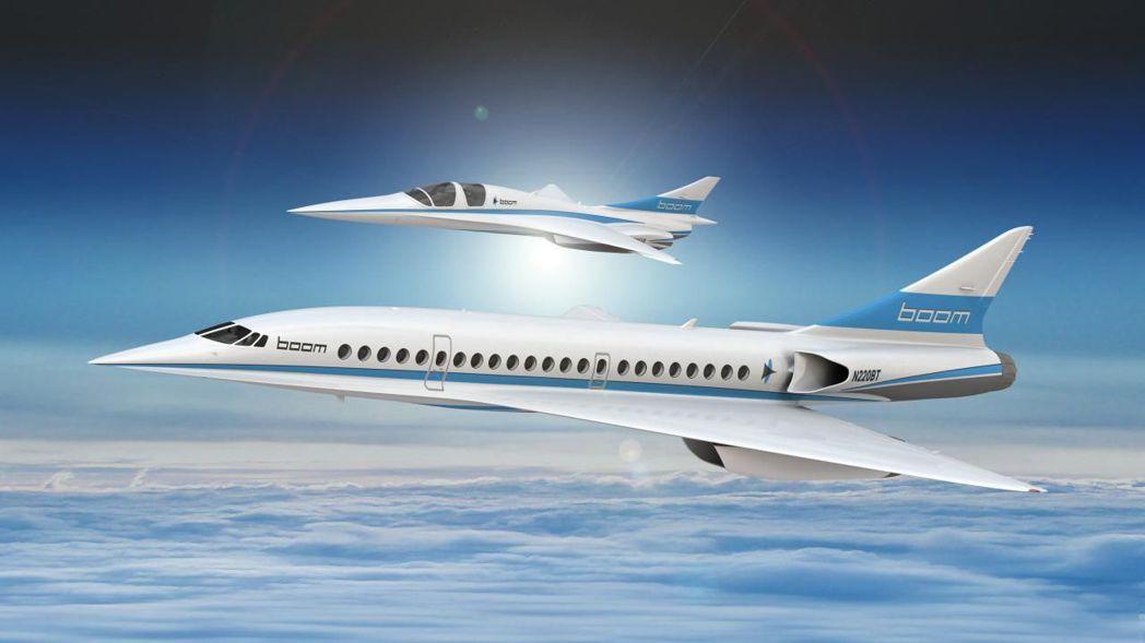 超音速客機有望重回天際。圖為Boom科技公司雙人座超音速客機XB-1(上)和55...