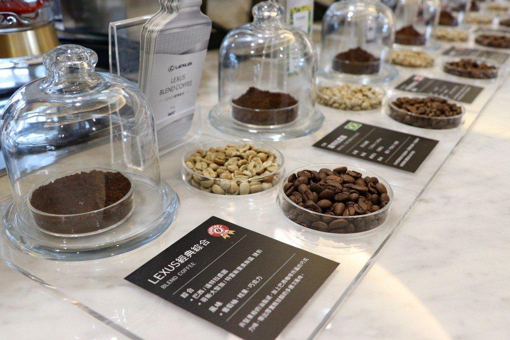 在LEXUS濱江現場,提供10款不同產區、風味的精選咖啡豆,其中還包含UCC為LEXUS特別打造的LEXUS經典綜合豆。 記者陳威任/攝影