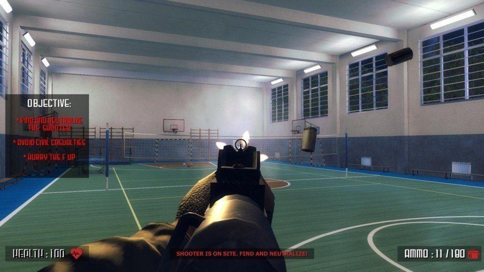 在《Active Shooter》當中,玩家需扮演反恐小組或恐怖份子在校園廝殺。