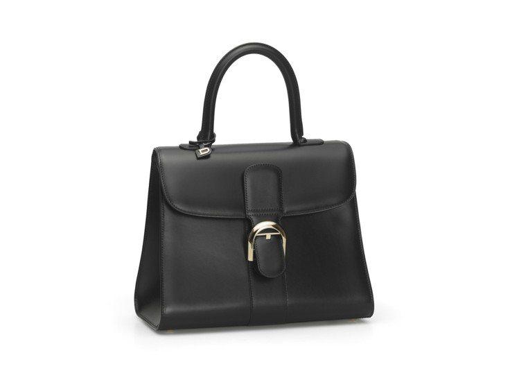DELVAUX黑色Brillant中型牛皮肩背包,售價20萬1,300元。圖/D...