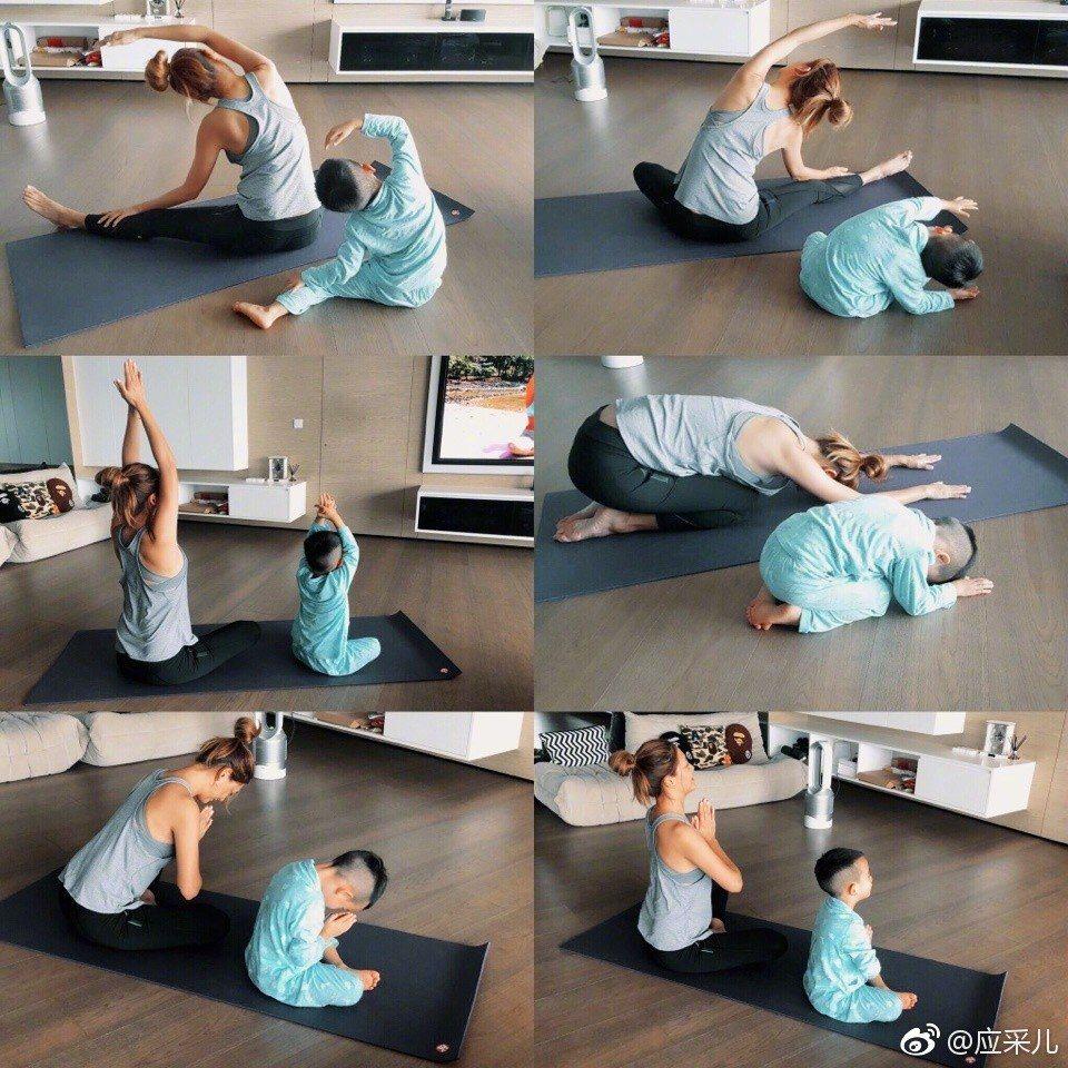 應采兒分享與Jasper一起做瑜珈。圖/擷自微博