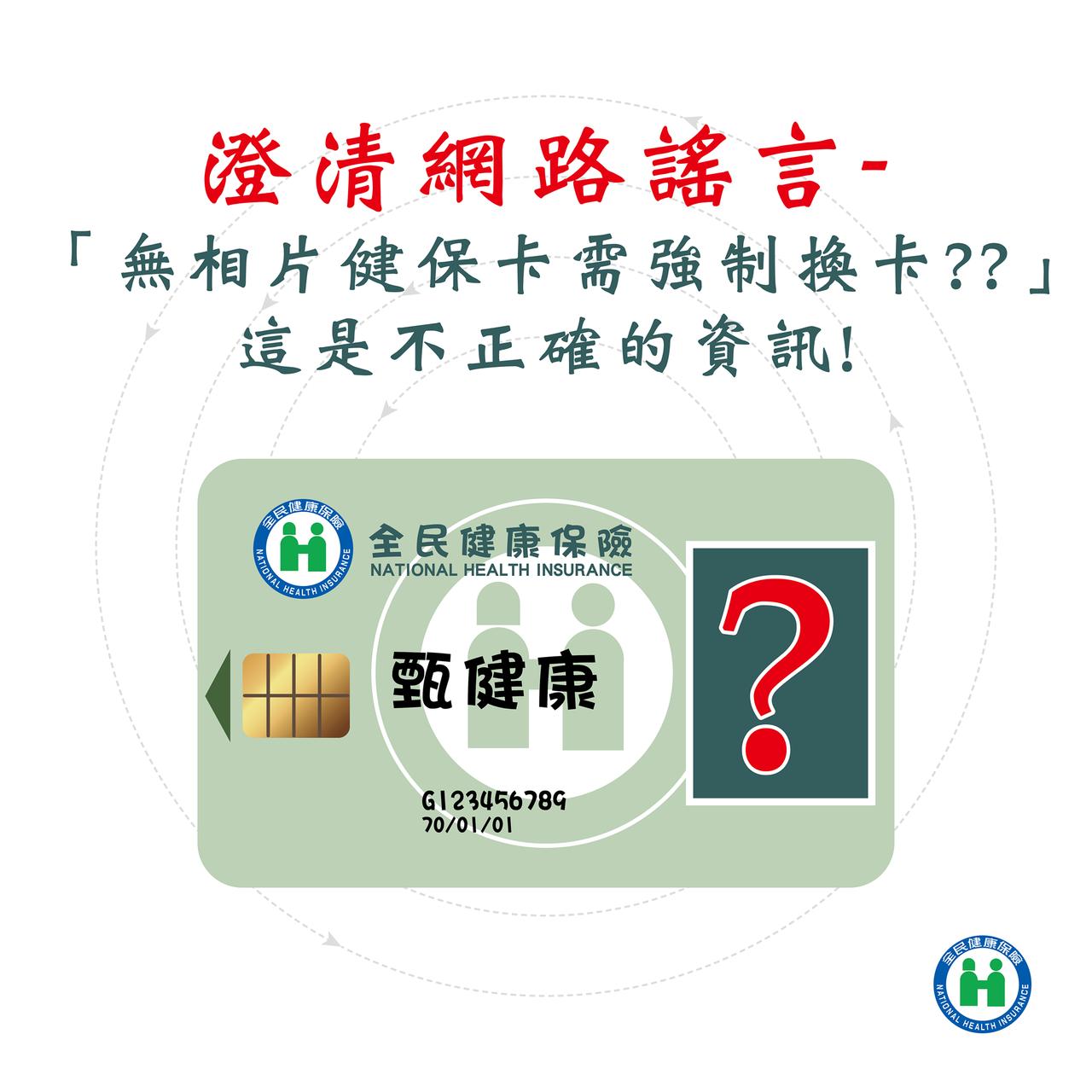 健保署表示,現行使用無相片健保卡,並未要求強制換卡。翻攝健保署臉書