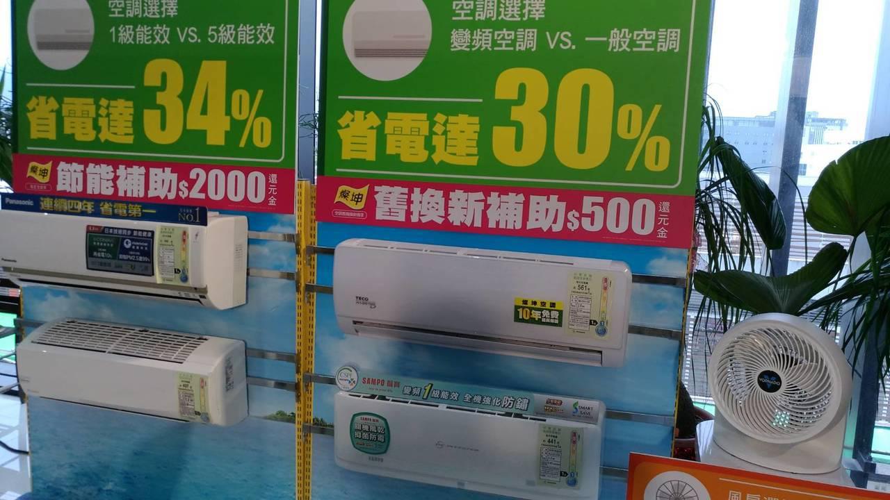 燦坤攜手家電品牌發表節能白皮書,強調一級變頻空調可以省電達三成。記者張義宮/攝影