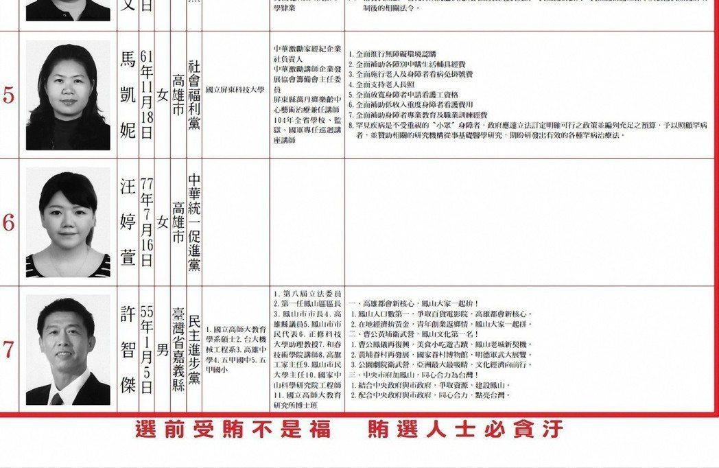 2016年高雄市立委選舉,部分候選人政見空白。 記者施鴻基/翻攝