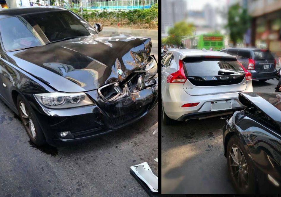富豪汽車後方遭到BMW追撞卻毫髮無傷。圖擷自爆廢公社