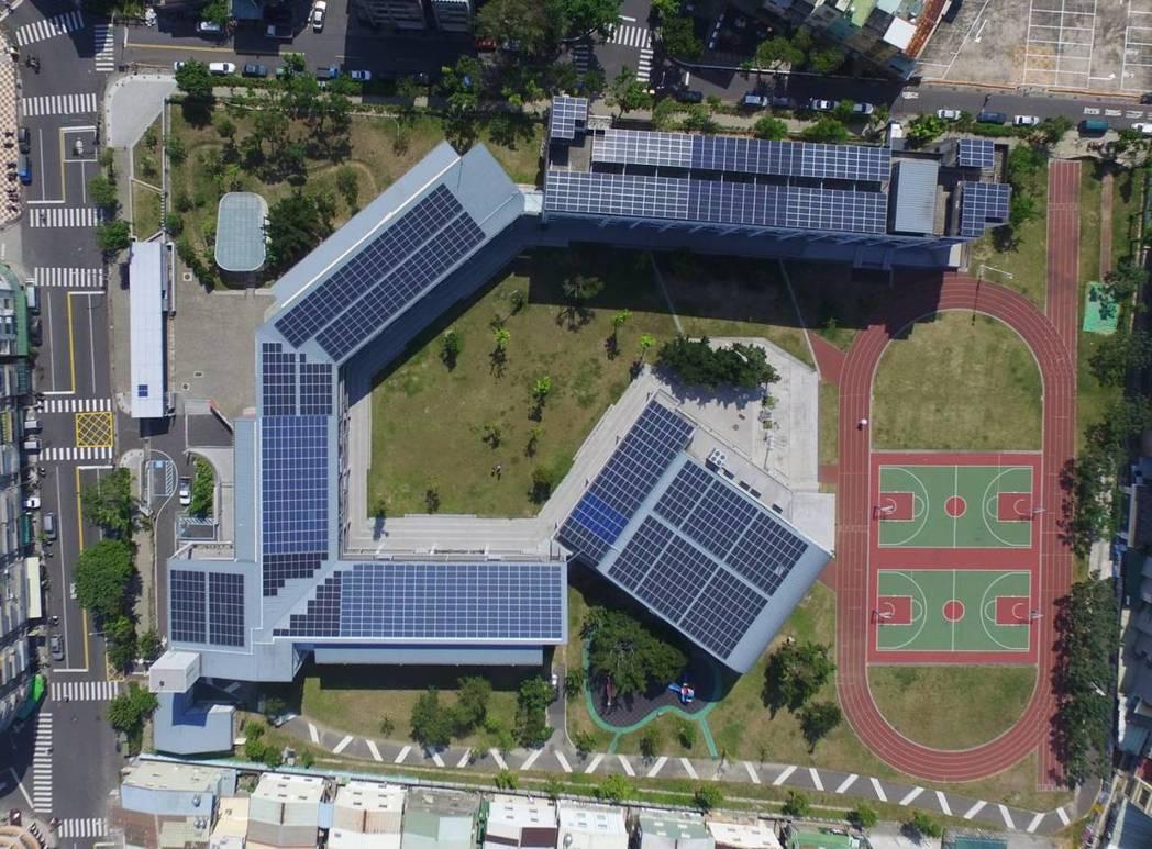 樂群國小屋頂太陽能光電板,跟去年同期相較,省下4千度以上的電費,相當於替台灣減少...