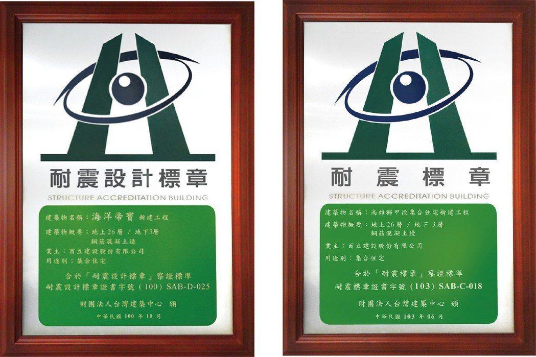 高雄首座獲得設計及施工耐震標章。 圖片提供/百立建設