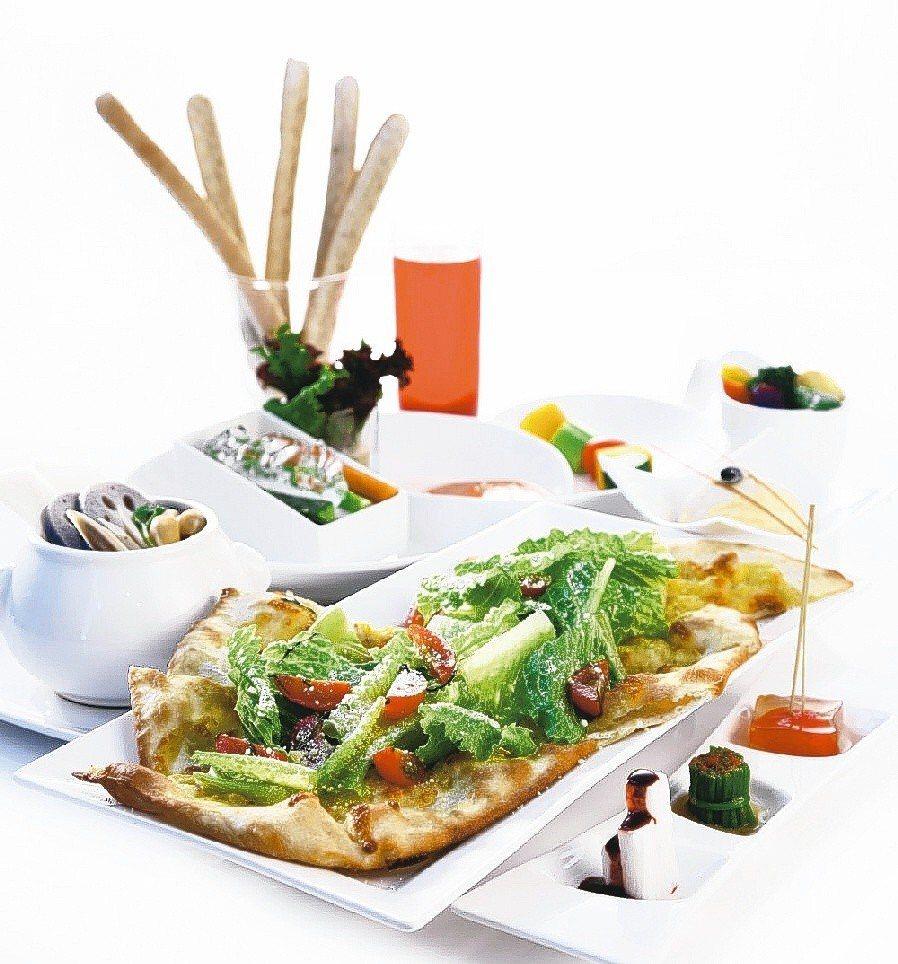 舒果新米蘭蔬食「蘿美甜心披薩全餐」。圖/王品集團提供