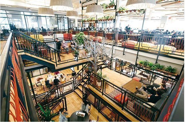 WeWork總部本身也是一棟共享空間,還設有瑜伽區、圖書室、咖啡吧。(圖片來源W...