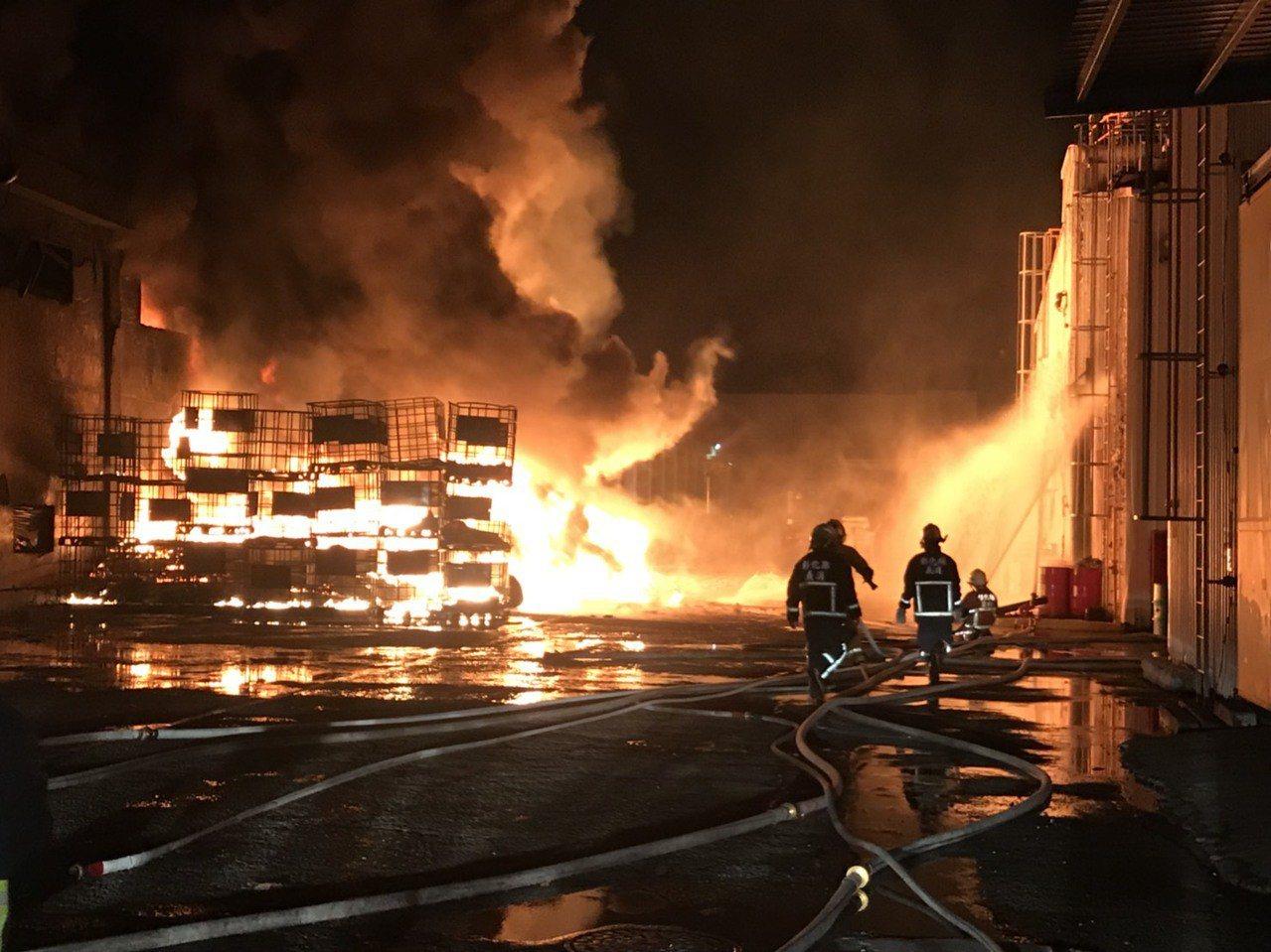 彰化縣伸港鄉興工路的英全化工倉庫昨晚深夜發生火警,由於烈火及濃煙衝天,工廠內還有...