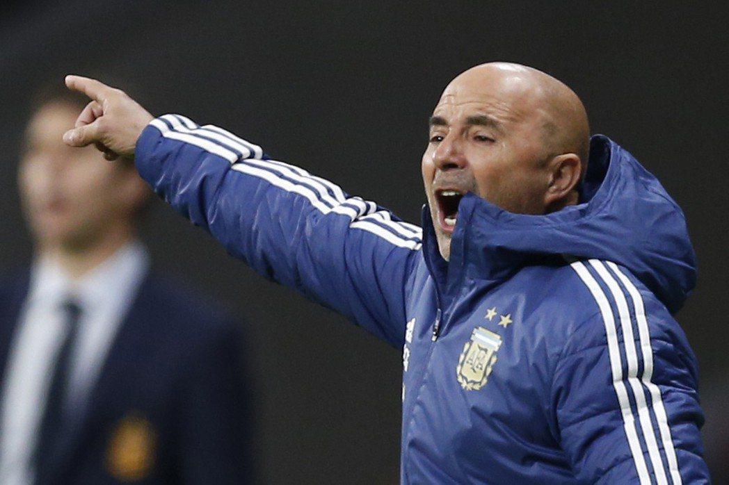阿根廷隊總教練(Jorge Sampaoli)。美聯社