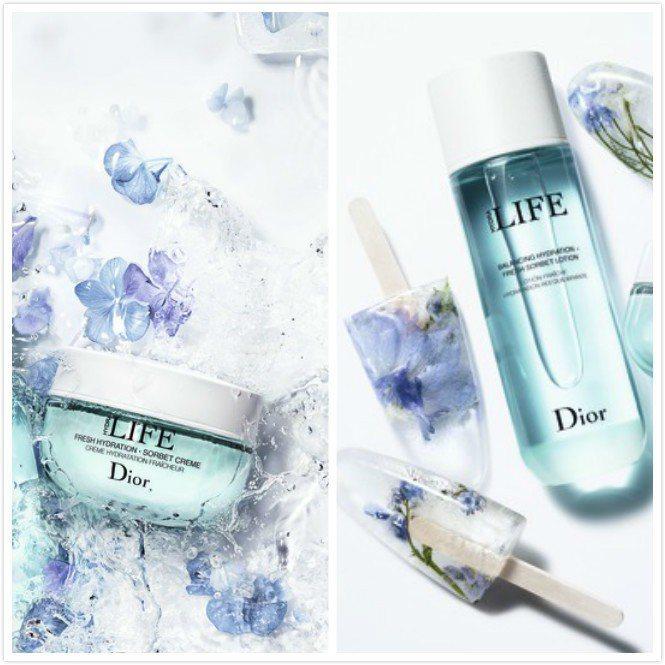Dior花植水漾保濕系列的形象圖既清涼又浪漫。圖/迪奧提供