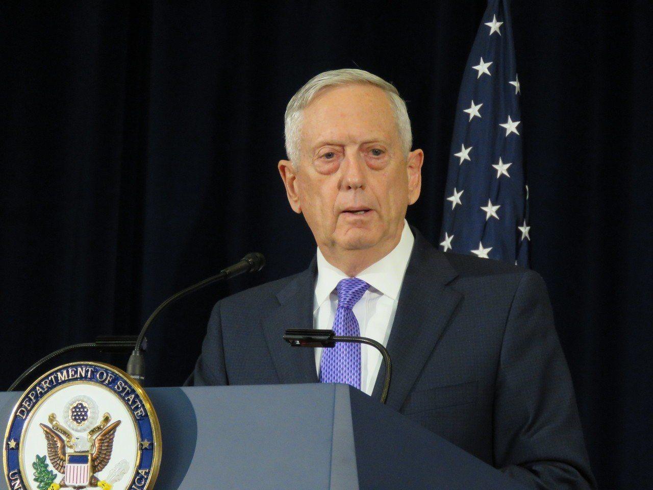 美國國防部長馬提斯。聯合報系資料照
