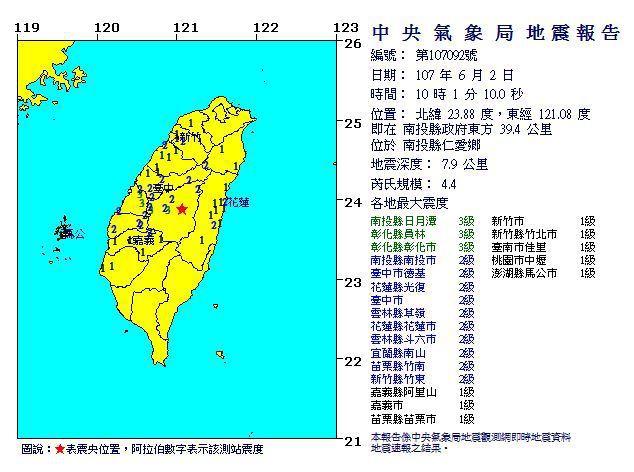 中央氣象局發布地震報告。圖/氣象局提供