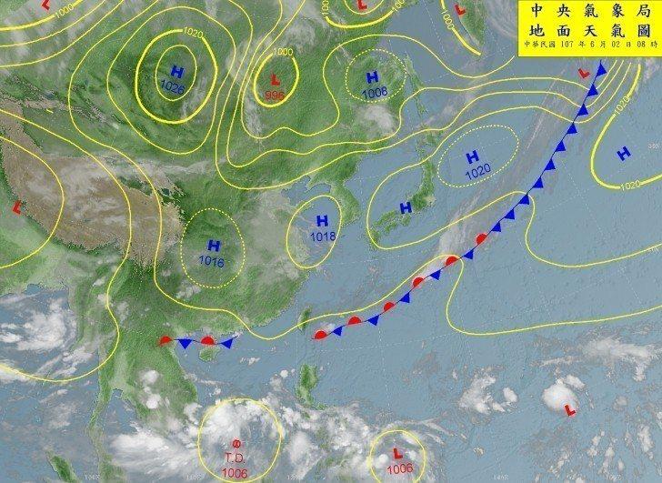 中央氣象局表示,菲律賓西邊南海的熱帶擾動,今早8點已增強為熱帶性低氣壓。圖/氣象...