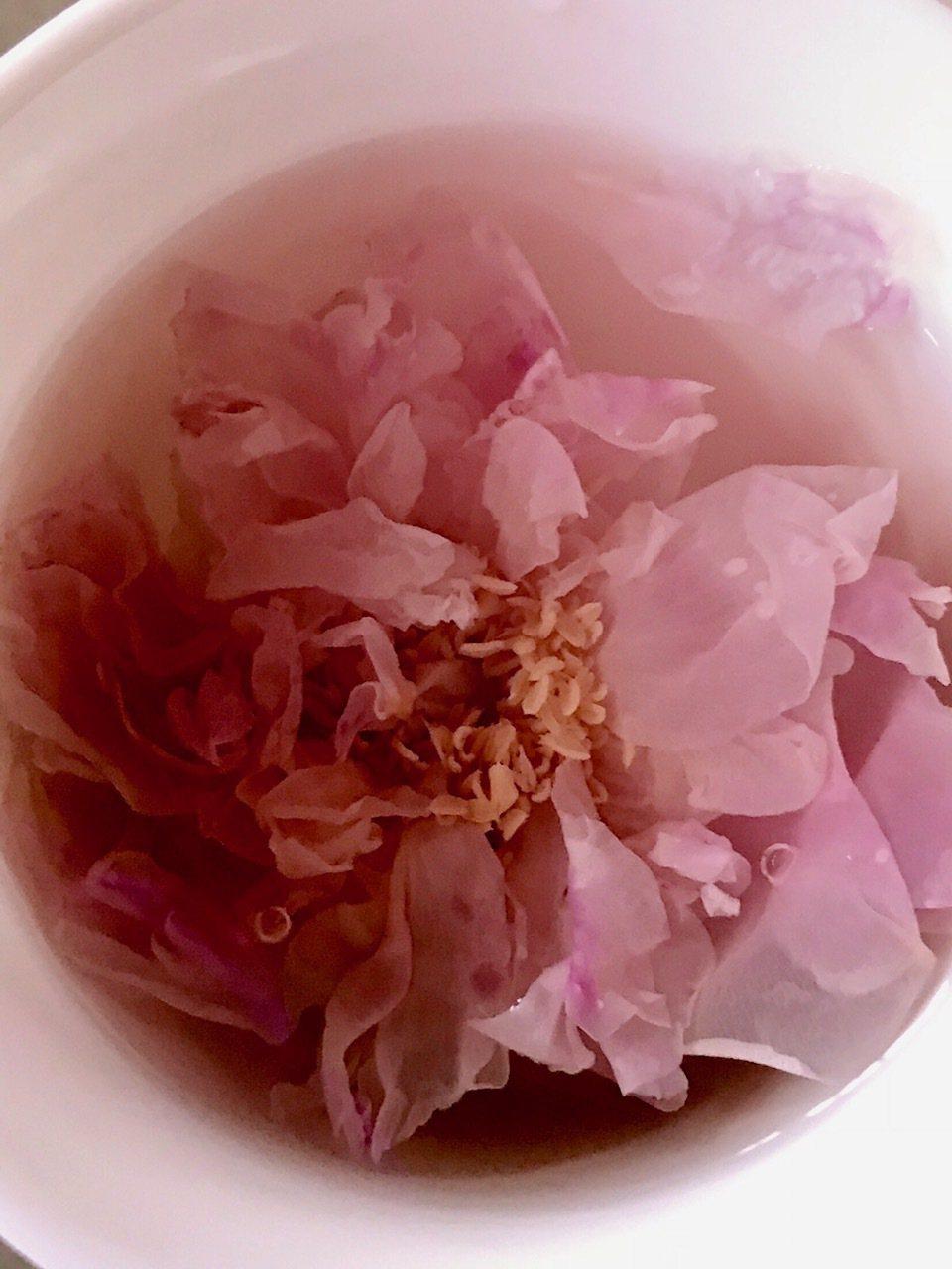 有機食用玫瑰沖泡成茶飲,有著天然的香甜味。圖/錢欽青、張繼欄