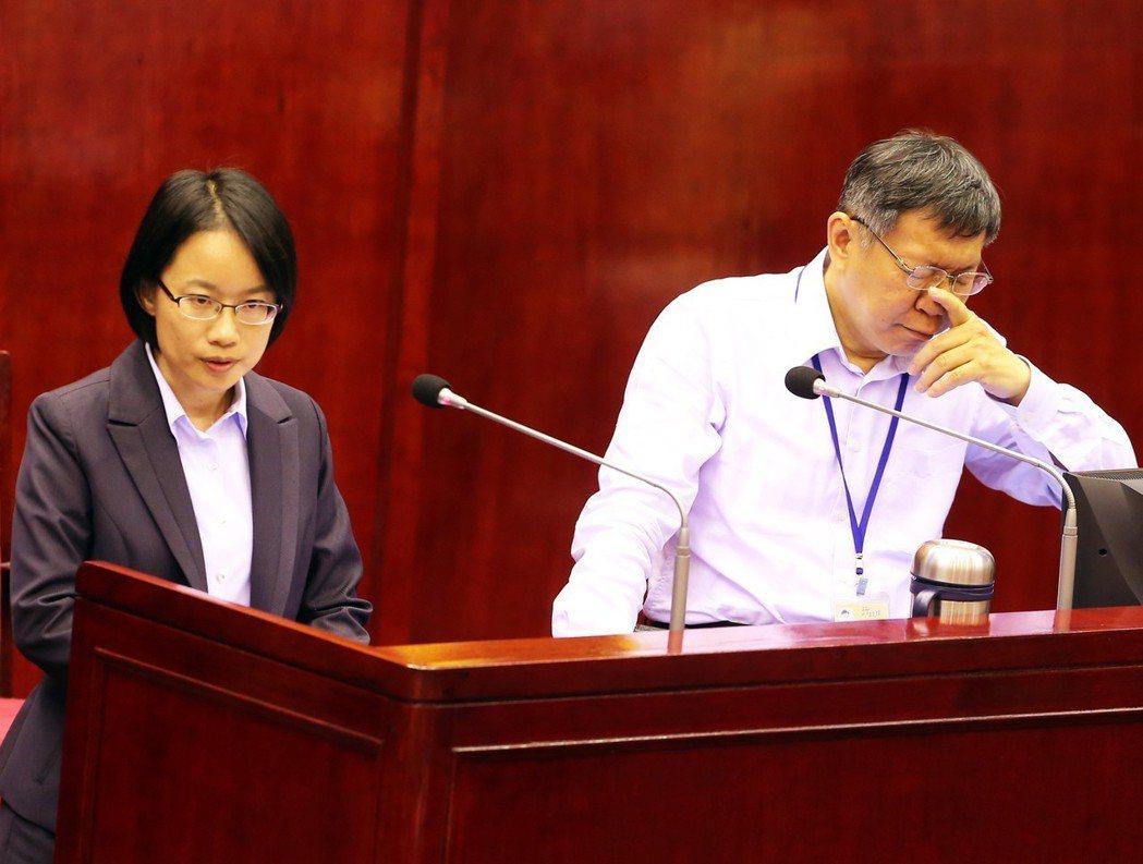 北農總經理吳音寧站在質詢台,面對議員追問是否適任時,一旁的市長柯文哲閉目沉思。 ...