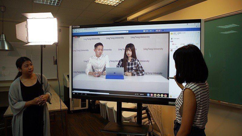 嶺東科大跨學院合作培訓直播人才。 嶺東科大/提供