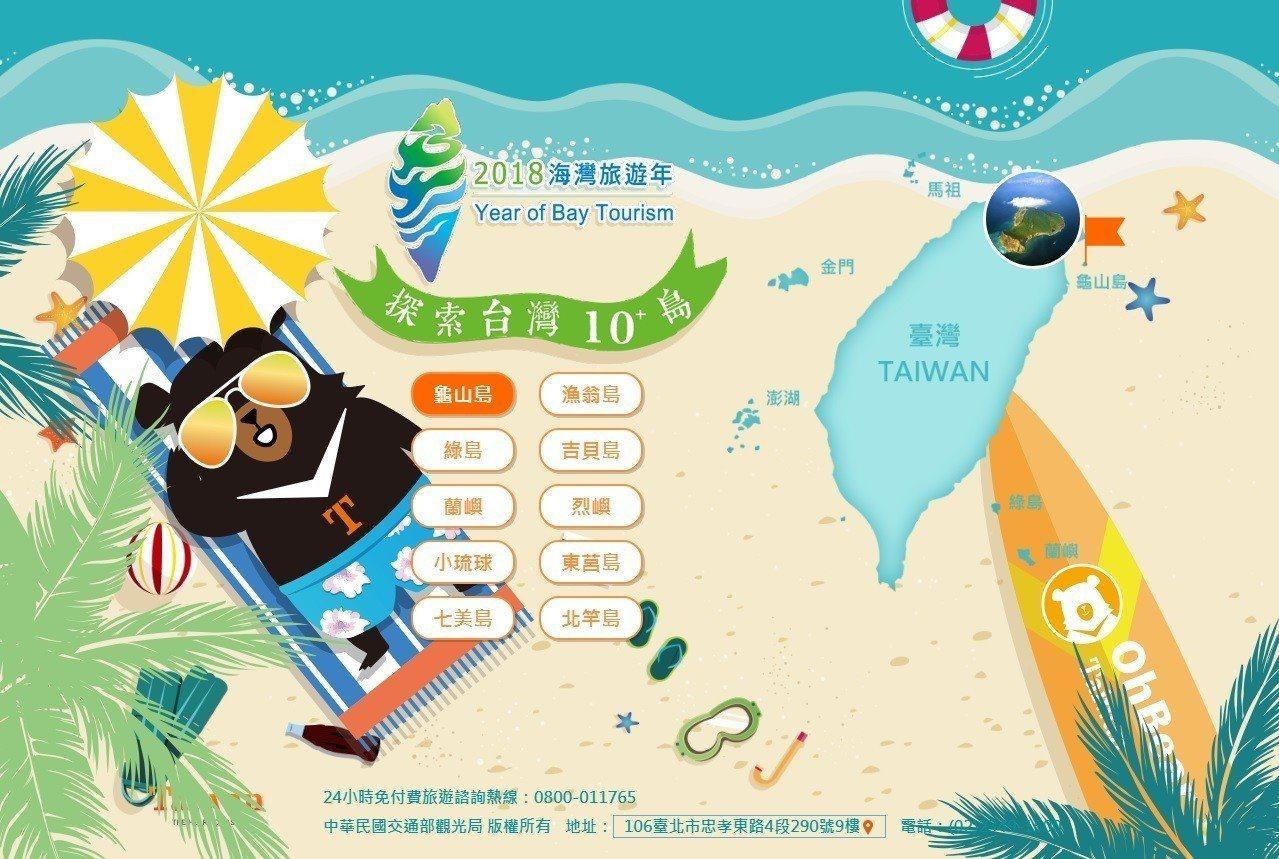 交通部觀觀光局推海灣旅遊,邀請民眾探索台灣10島。圖/擷自網站