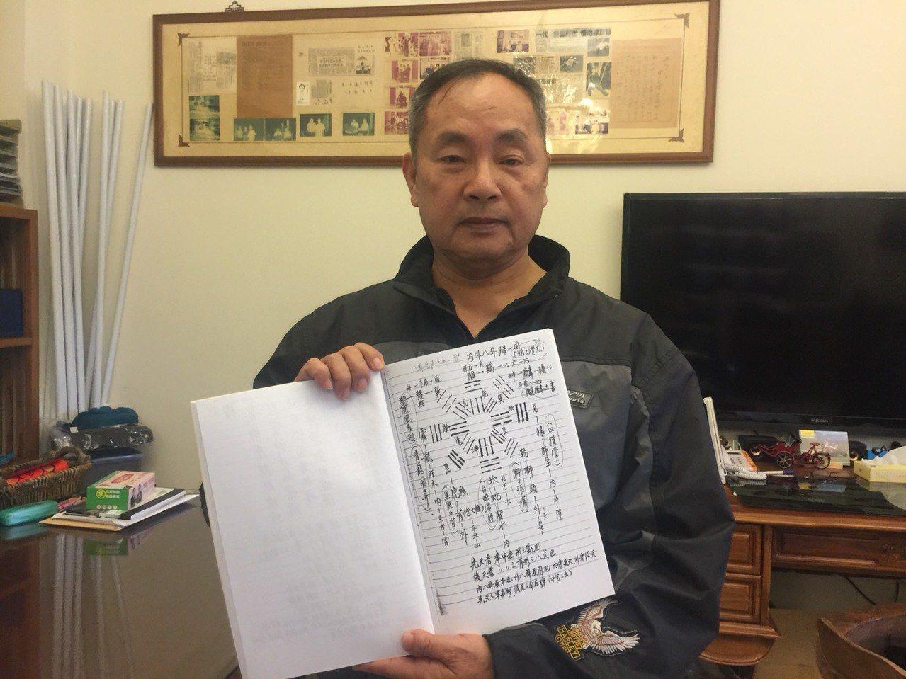 程旭泰收藏有「八掛拳譜」。記者吳政修/攝影